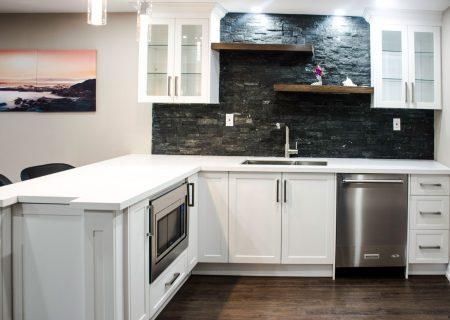 basement  kitchen with wall decor