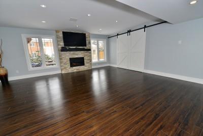 basement renovation with sliding doors in markham