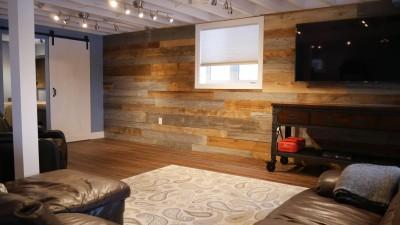 wood interior basement in woodbridge