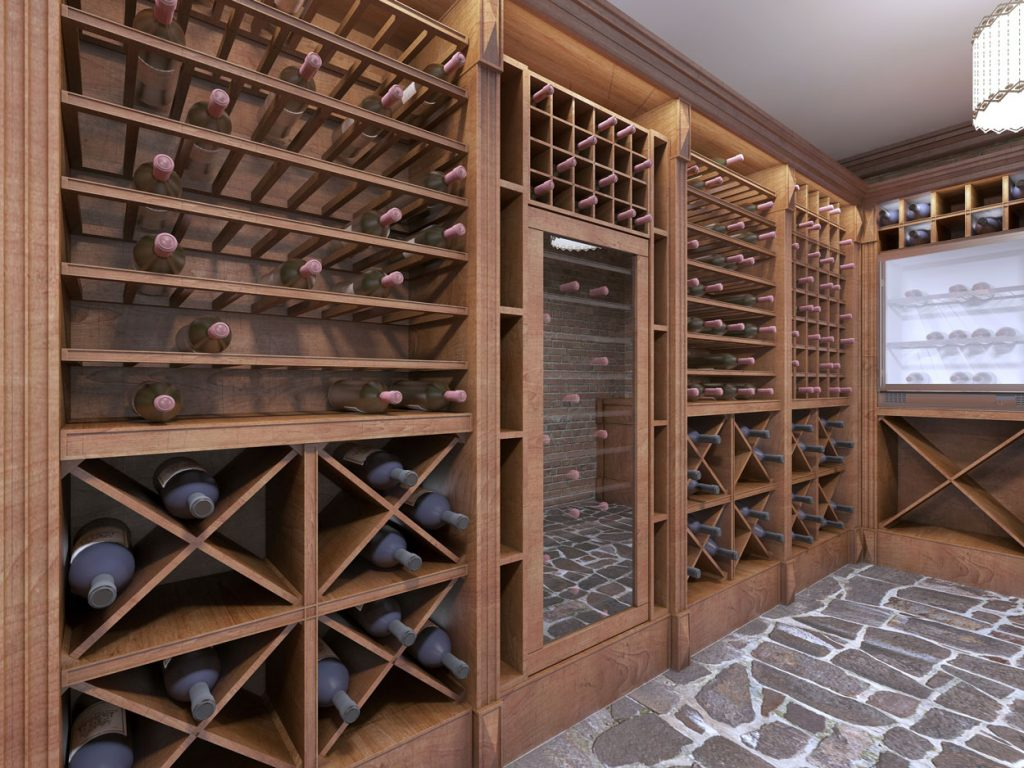 wine cellar with custom wooden cabinets