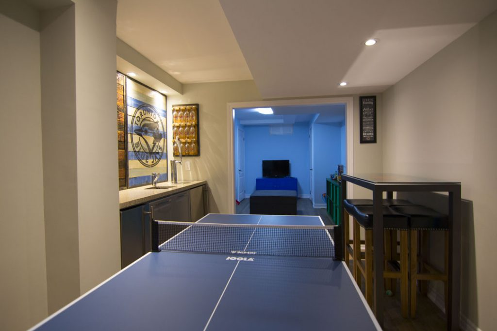 Luxury game room in the basement