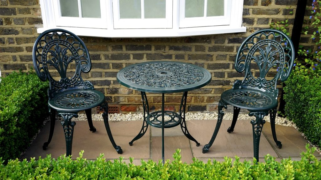 photo of patio stones and patio furniture