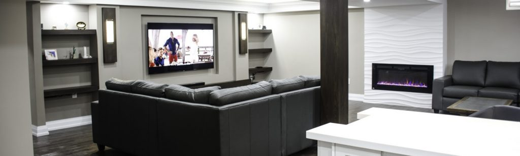 Luxury custom basement by Harmony Basement