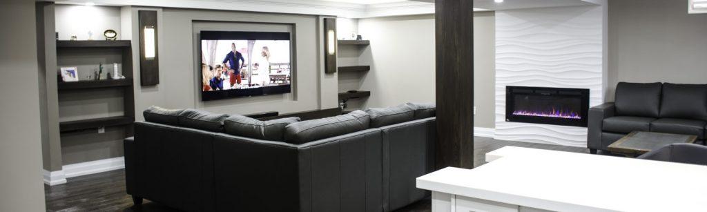 Luxury custom basement by Harmony Basement