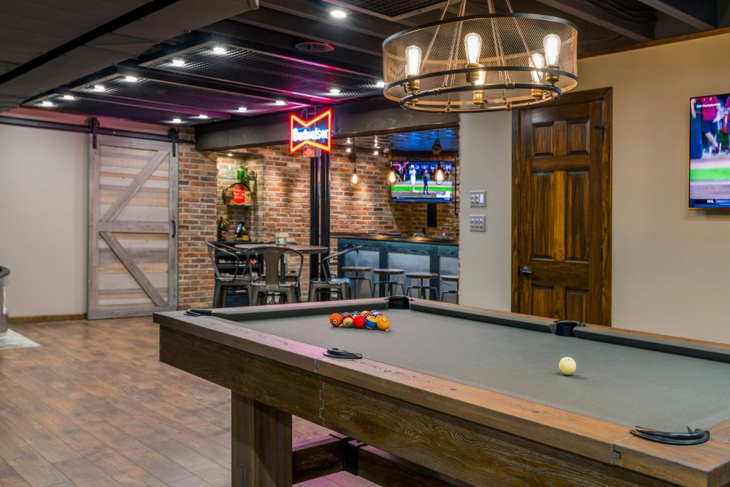 finished basement with amazing bar and pool table
