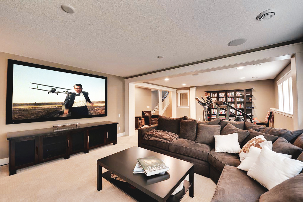 luxury family room in custom basement - basement renovations north york