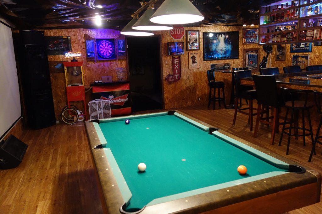 luxury game room in basement reno