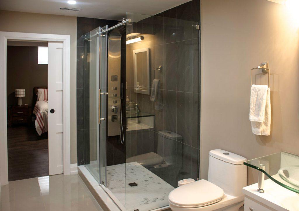 Bathroom Renovation in Custom Basement by Harmony Basements Burlington