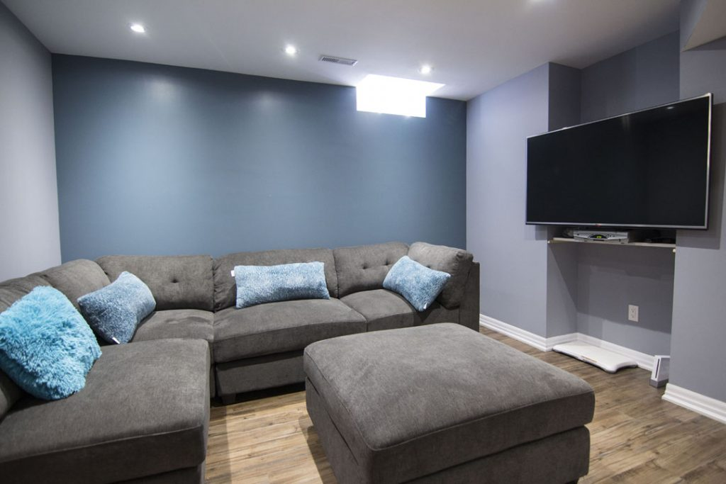 Blue Wall Painting in Amazing Basement Family Room Design Pickering