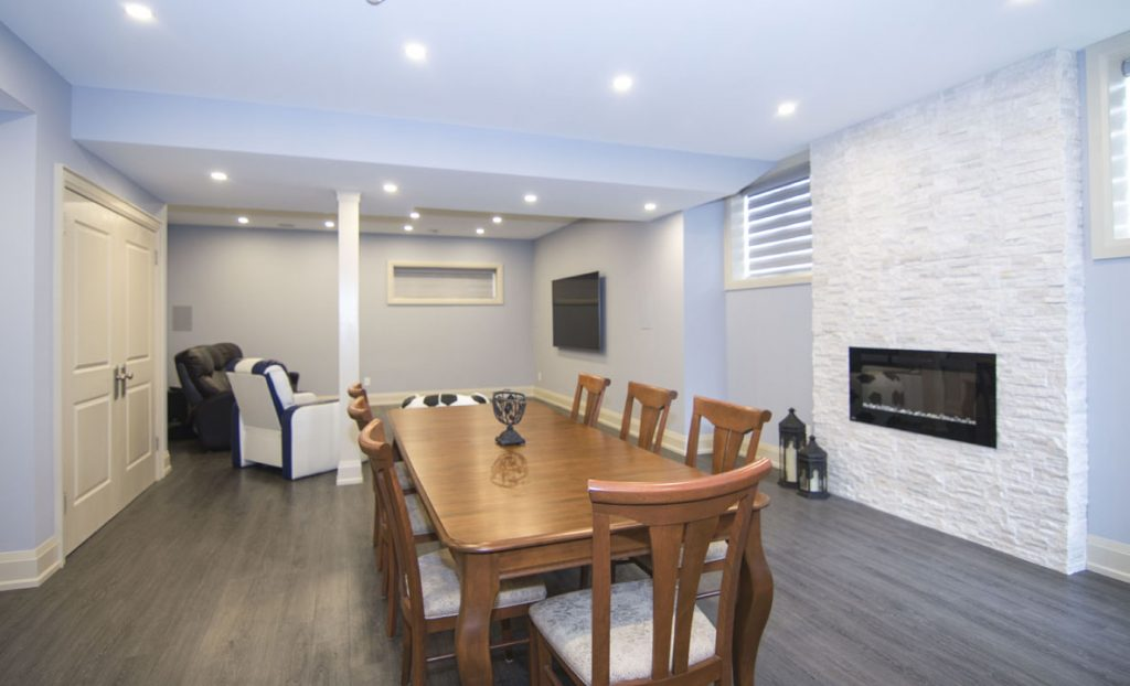 Basement Dining Room with Build in Fireplace - Basement Finishing Vaughan