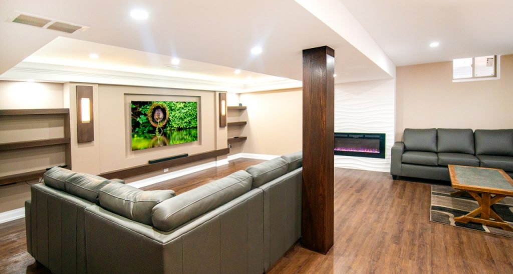 Backlit Ceiling in Custom Family Room - Harmony Basements Renovation Company Milton
