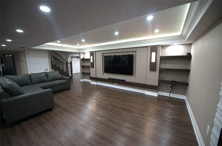 Backlit Ceiling and Wall Unit in Custom Basement - Basement Finishing Pickering