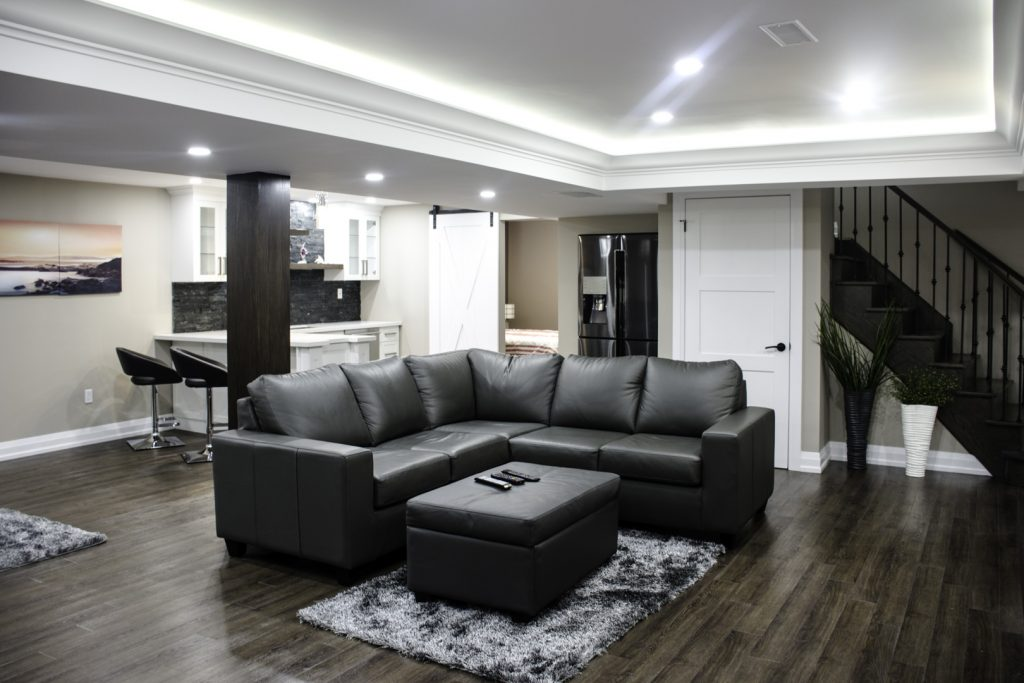Amazing Living Room and Small Kitchen in Basement Renovation Project Maple