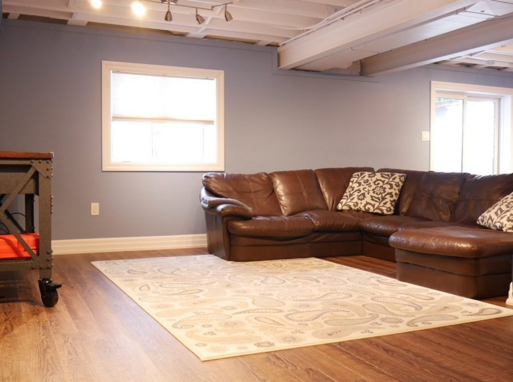 Blue Painting and Baseboard Trim in Custom Basement Design Thornhill