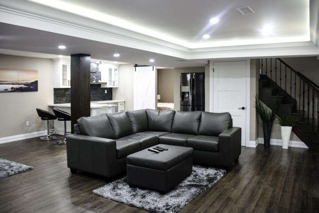 Modern Family Room Design in Custom Basement Renovation Woodbridge