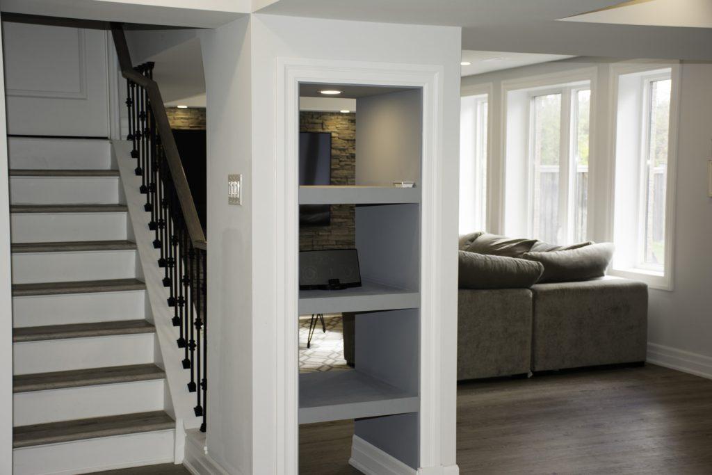 Custom Shelves in Amazing Basement Remodeling Project Burlington