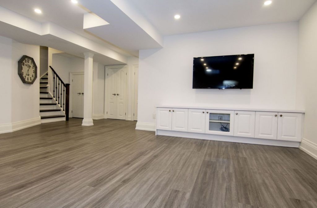 Modern Family Room in Basement Renovation Project Newmarket