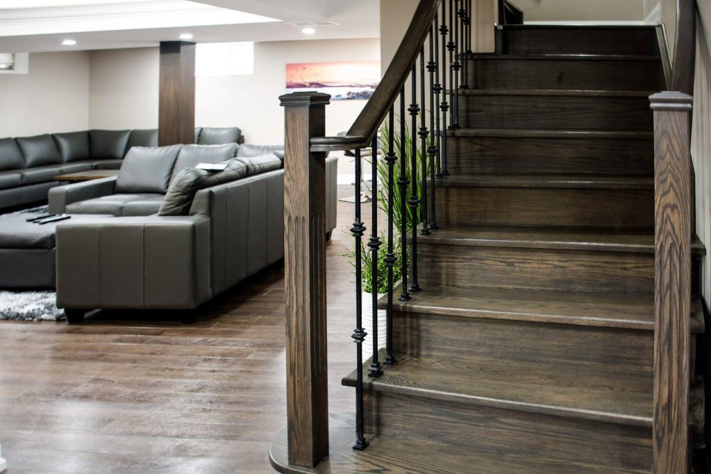 Custom Staircase in Amazing Basement Renovation Project Ajax
