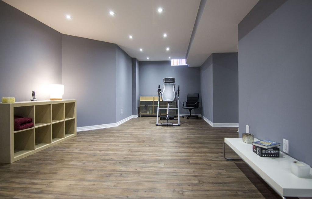 Custom Open Space Basement with Small Gym and Privet Office - Basement Renovation in Hamilton