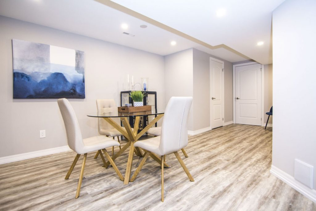 Modern Dining Room with Baseboard Trim - Basement Design Company Mississauga