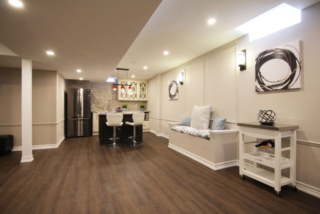 Open Space Basement with Dining Room and Kitchen  - Basement Renovation Company Aurora
