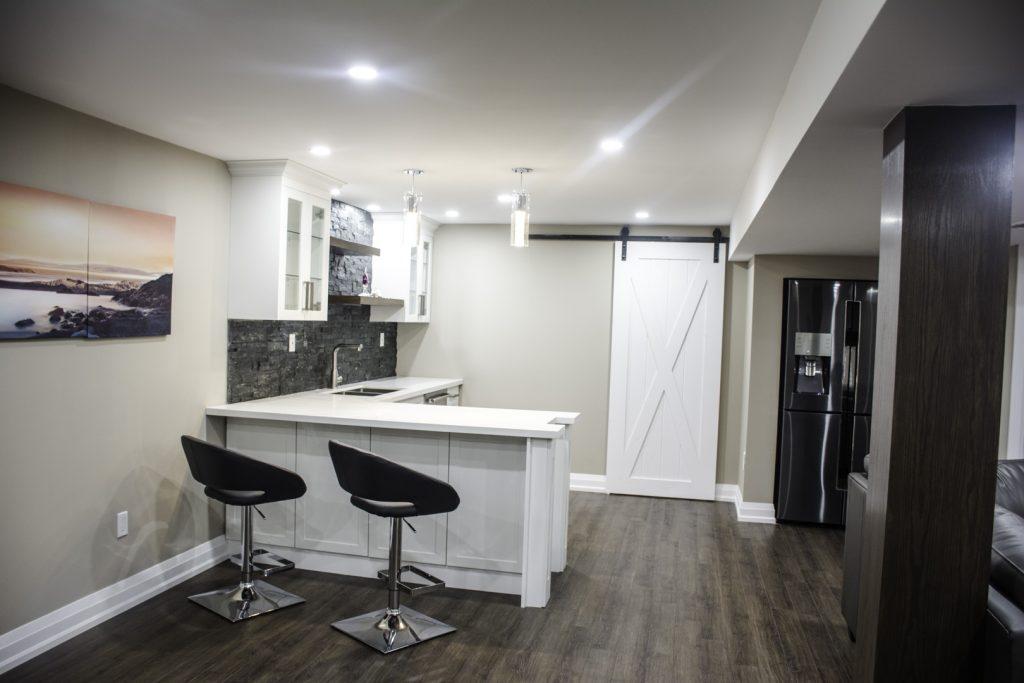 Small Kitchen in Amazing Basement Renovation Project Hamilton
