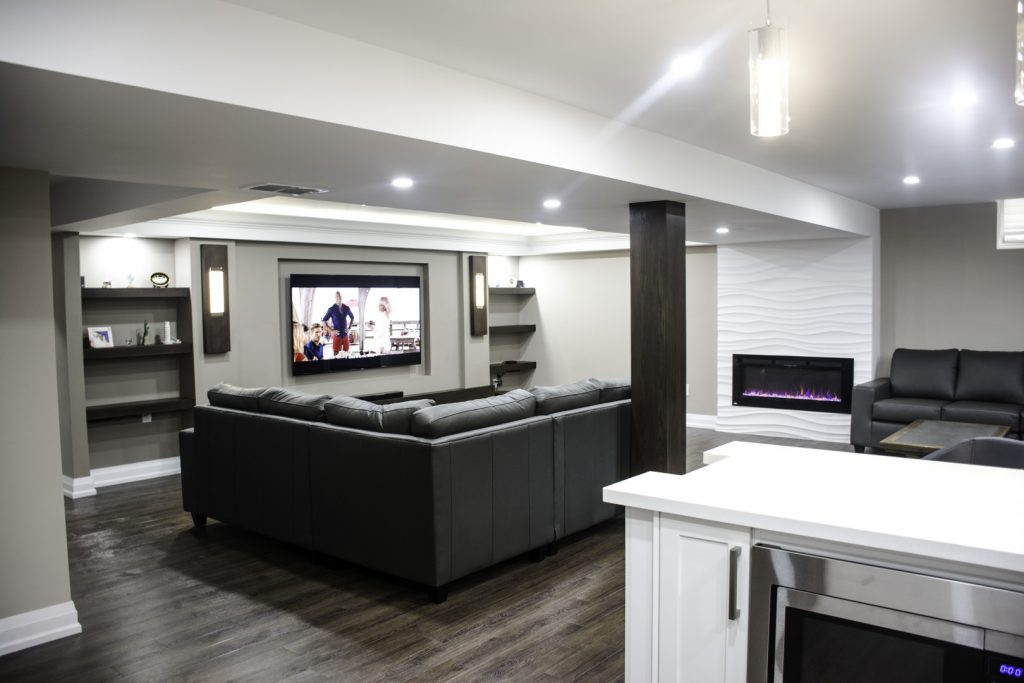 Custom Family Room and Small Kitchen in Amazing Basement Renovation Project