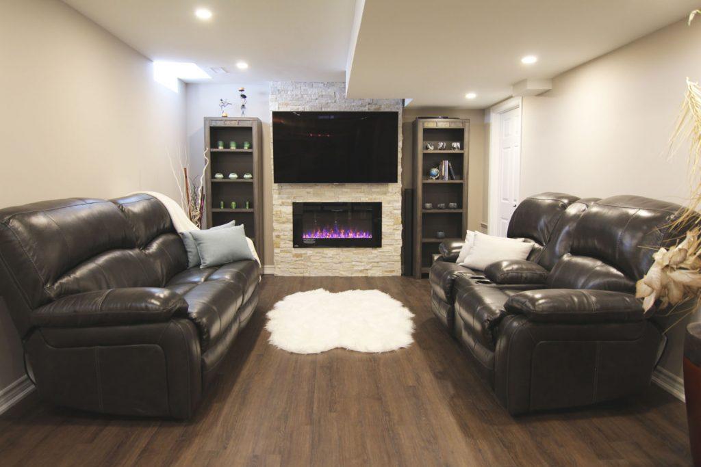 Custom Entertainment Unit in Basement Family Room - Basement Design Oakville