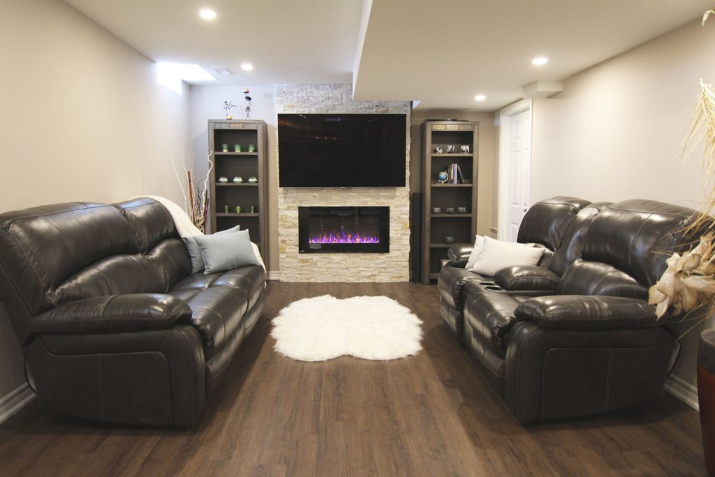 Modern Family Room in Custom Basement Renovation Project Etobicoke