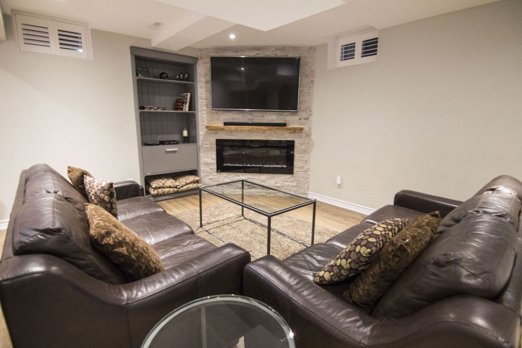 Amazing Basement Family Room with Build in Wall Unit - Basement Remodeling Richmond Hill