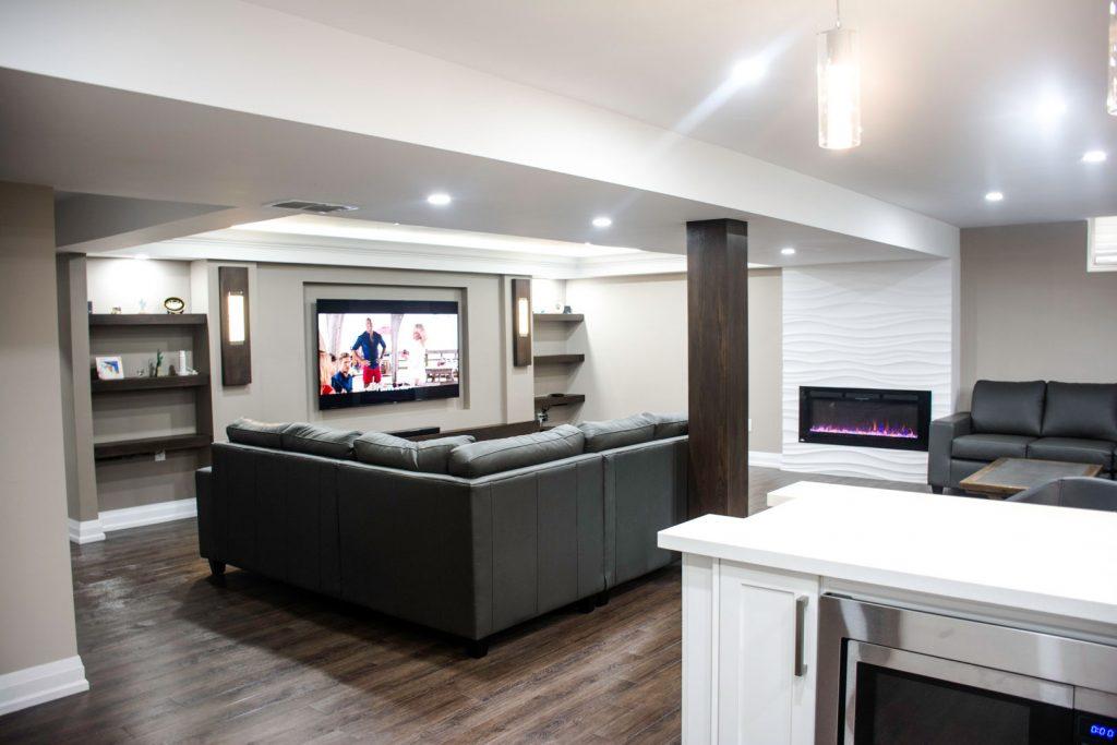 Basement Living Room with Build in Fireplace - Basement Finishing Burlington
