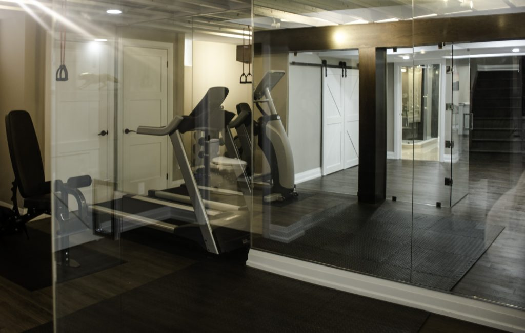 Home Gym in Custom Basement - Basement Finishing Project Milton