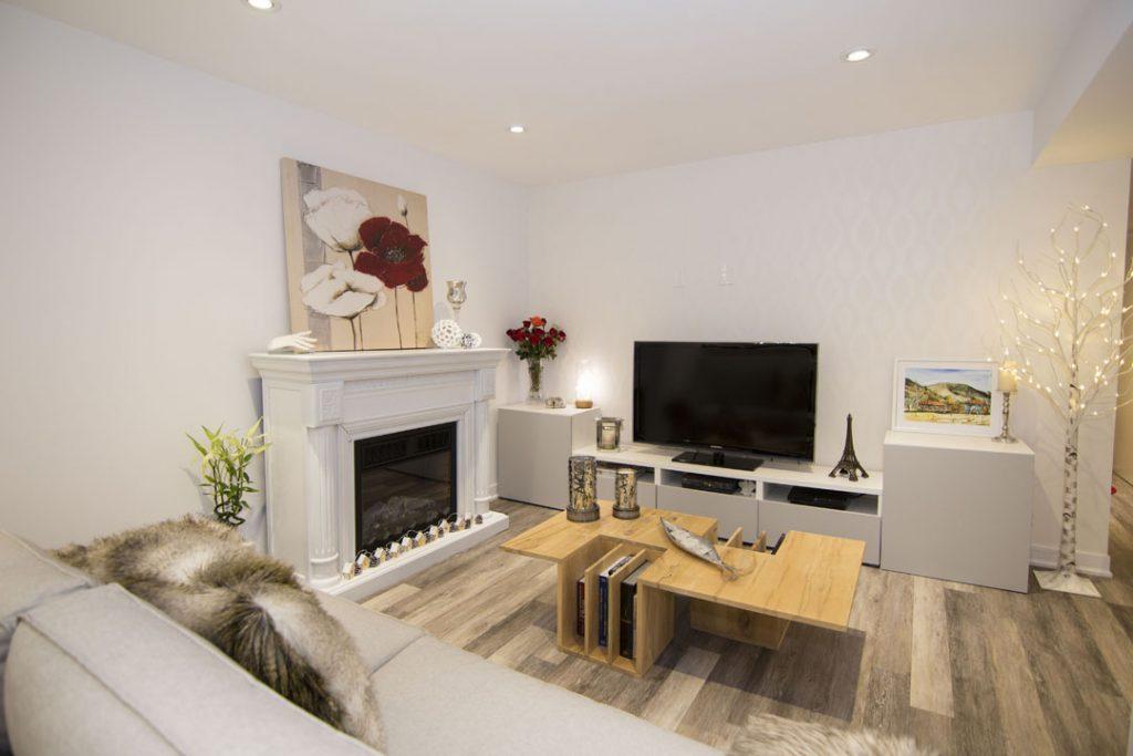 Modern Basement Family Room Design by Harmony Basements Stouffville