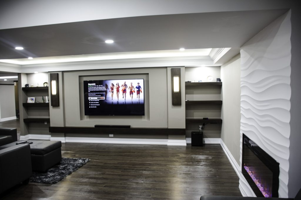 Backlit Ceiling and Build in Fireplace in Custom Basement - Basement Finishing Company Oshawa