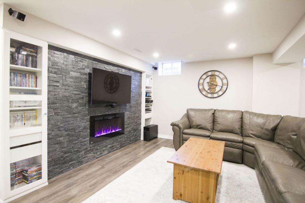 Modern Family Room in Basement Renovation Project Woodbridge