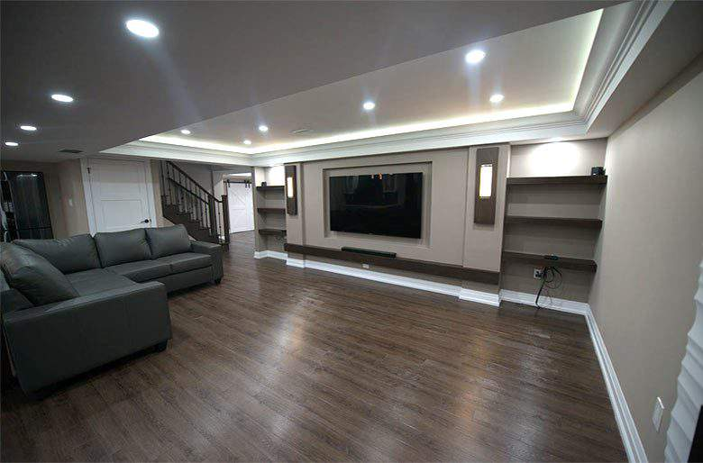 Family Room with Back Lit Matt Stretch Ceiling by Harmony Basement King City