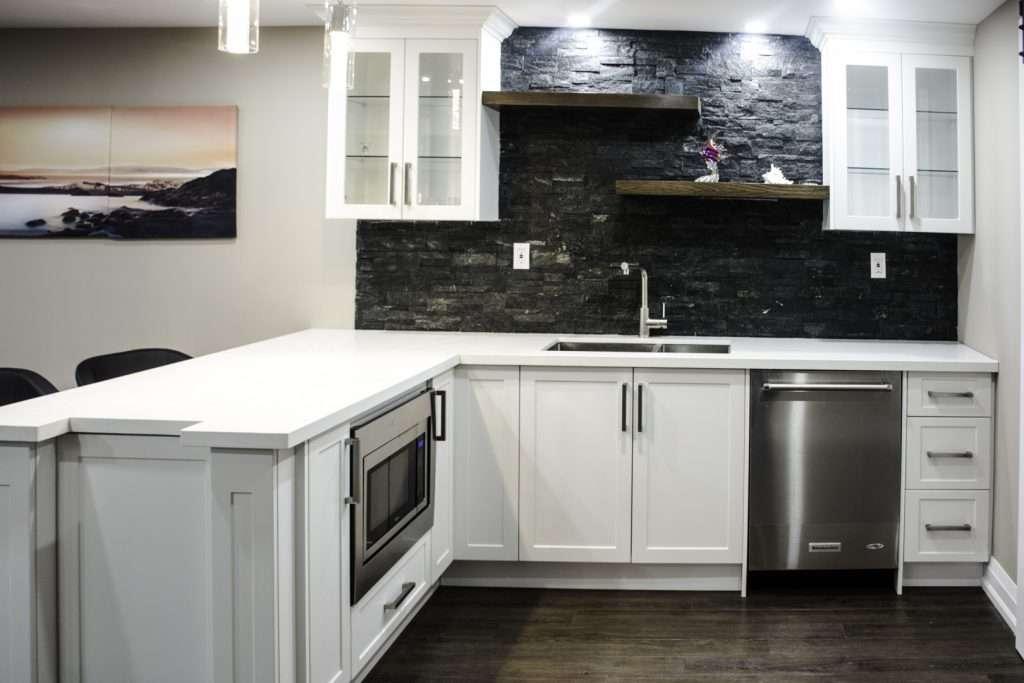 Amazing Backsplash Wall on Custom Basement Kitchen Design Mississauga