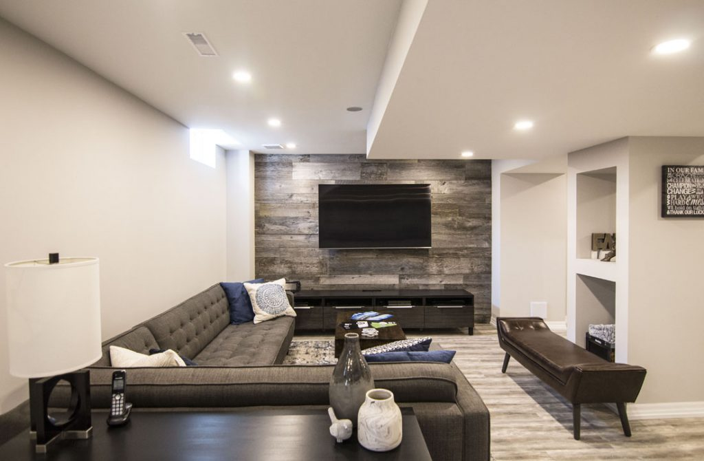 Modern Family Room in Finished Basement Maple