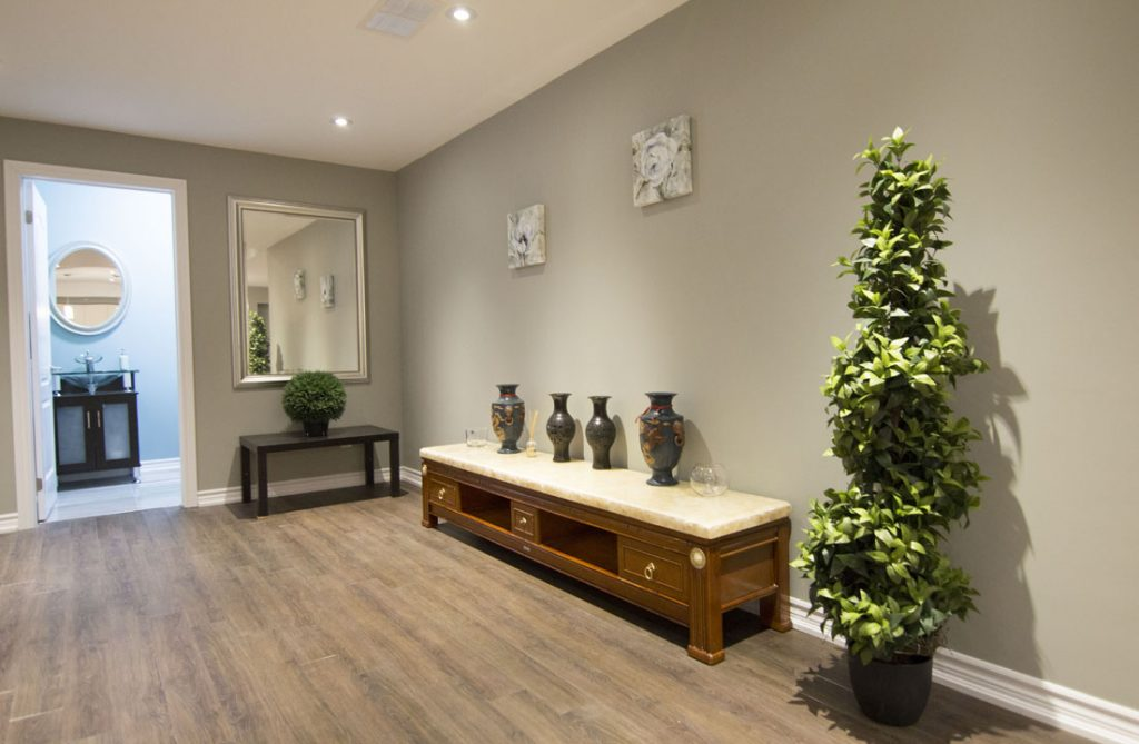 Baseboard Trim and Gray Wall Painting in Custom Basement Design Markham