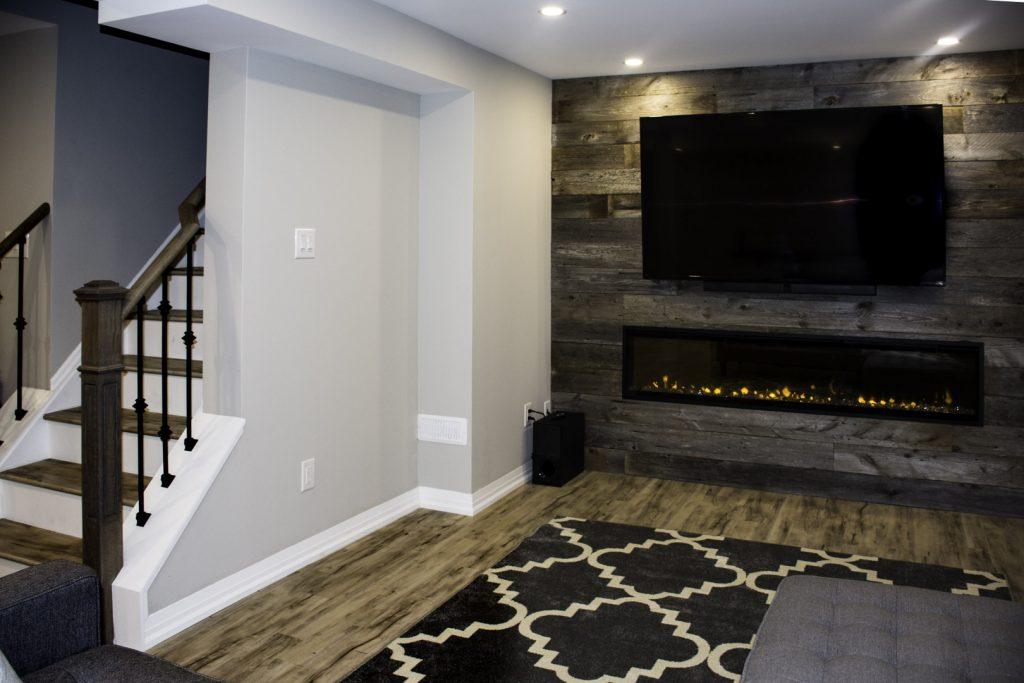 Modern Living Room in Custom Basement Design Milton