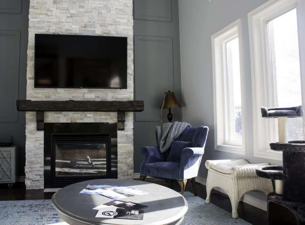 Luxury Family Room Design in Custom Walk out Basement Nobleton